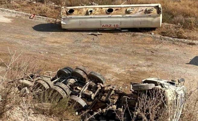 Su tankeri 15 metre yükseklikten aşağıya düştü, Mükerrem Ertosun ağır yaralandı