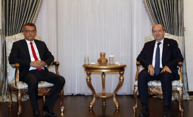 Tatar, CTP Genel Başkanı Tufan Erhürman'ı kabul etti