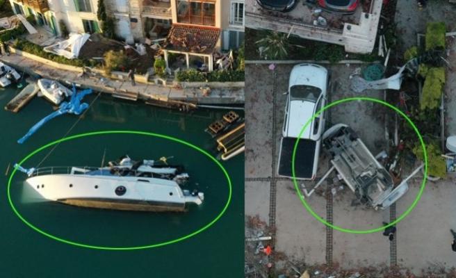 İzmir'i yerinden oynatan hortum felaketinden görüntüler geldi