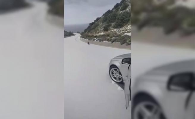 Yedikonuk- Balalan yolu karla kaplandı