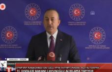 TC Dışişler Bakanı Mevlüt Çavuşoğlu Cenevre'deki Kıbrıs konulu gayrı resmi 5+1 görüşmeleriyle ilgili basın açıklaması yapıyor