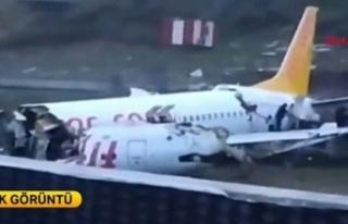 Pistten çıkan uçak parçalandı