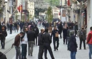 İstanbul'da İstiklal Caddesindeki Kalabalığa...