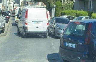 Araç Muayene Şubesi önünde uzun araç kuyruğu...