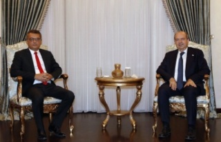 Tatar, CTP Genel Başkanı Tufan Erhürman'ı kabul...