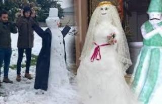 Türkiye'den kardan adam manzaraları! Kimi gelinlik...