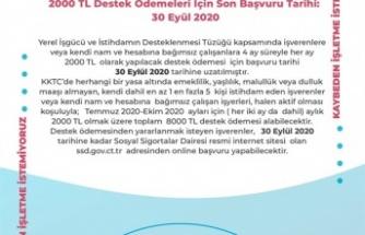 2000 TL DESTEK ÖDEMELERİ İÇİN SON BAŞVURU TARİHİ 30 EYLÜL'E UZATILDI