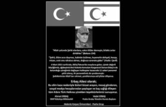 Erbaş ailesi, taziye mesajı gönderen Kıbrıs Türk halkına teşekkür mesajı yayımladı