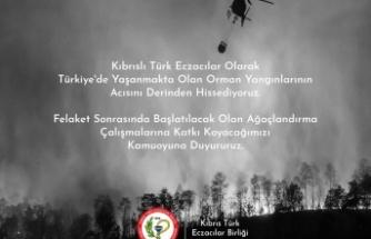 Kıbrıs Türk Eczacılar Birliği olarak Türkiye'de yaşanan orman yangınları felaketlerini derin üzüntü ile takip etmekteyiz