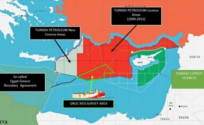 Dışişleri, Oruç Reis'in faaliyet sahasını gösteren haritayı paylaştı