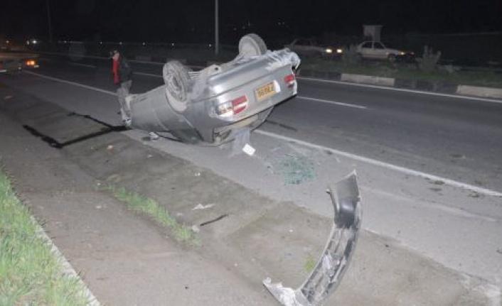 Aracı takla atınca, kaza yerinden kaçtı!